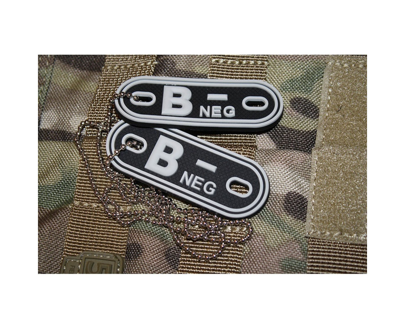 Psí známky Bloodgroup Rubber Dog Tags B Neg SWAT